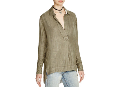Free People Stripe On The Road Shirt Tunic Top Green S