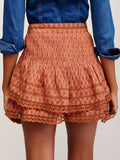New $98 Free People Summer Nights Printed Mini Lace Pintuck Skirt S 4
