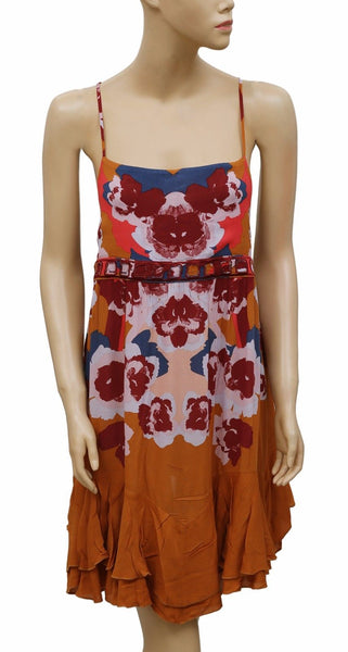 Intimately Free People Sweet Lucy Slip Printed Embroidered Tunic Dress S