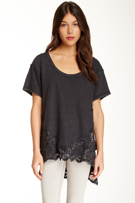 Free People The Stone Tee Black Top L