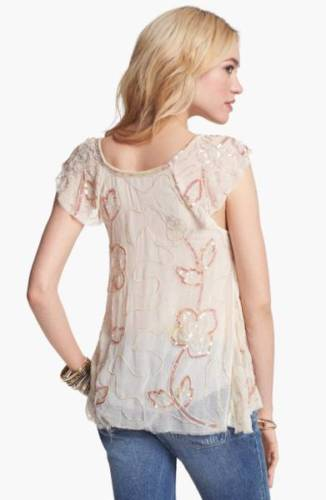 Free People Tritan's Treasure Sequin Embellished Top S