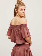 Free People Tropic Babe Smocked Off Shoulder Crop  Top S