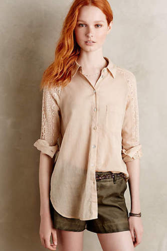 Holding Horses Lace Sleeve Buttondown Shirt Top M