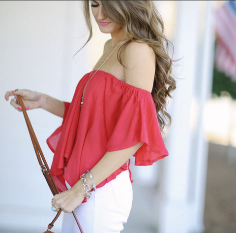 Free People Merpati Red Off Shoulder Top