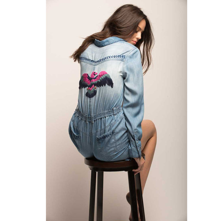 Jachs Girlfriend Long Sleeve Denim Tencel Embroidered Romper Small S