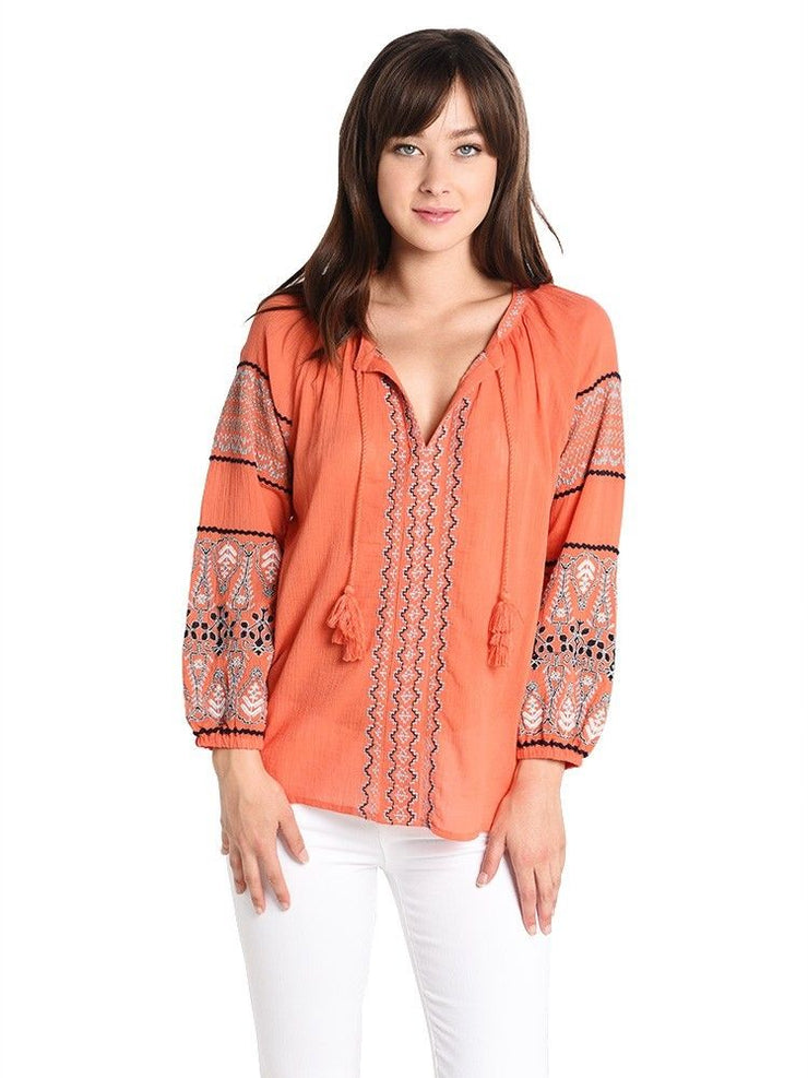 Joie Nelida Embroidered Top Medium M