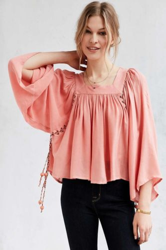 196366ea7749fe Kimchi Blue Mayla Lace-up Peach Blouse Top S – White Chocolate Couture