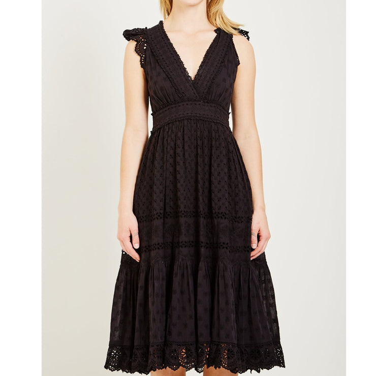 Ulla Johnson Marjorie Floral Eyelet Embroidered Midi Dress  S