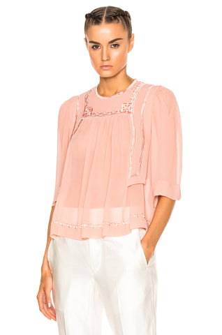 Isabel Marant Mara Embroidered Ruffle Pink Casual Blouse Top Small S