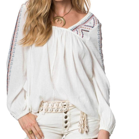 O'Neill Sidra Embroidered Tee White Causal Blouse Top L
