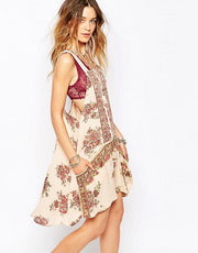 Free People Paradise Song Printed Border Tunic Dress M
