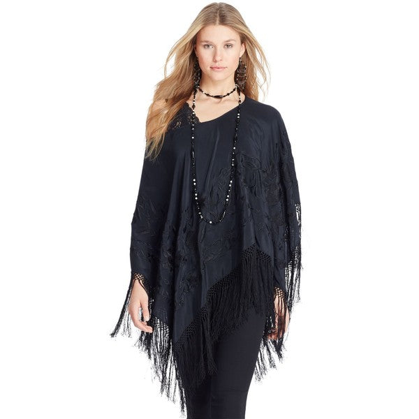 Polo Ralph Lauren Embroidered Silk Black Poncho Top S