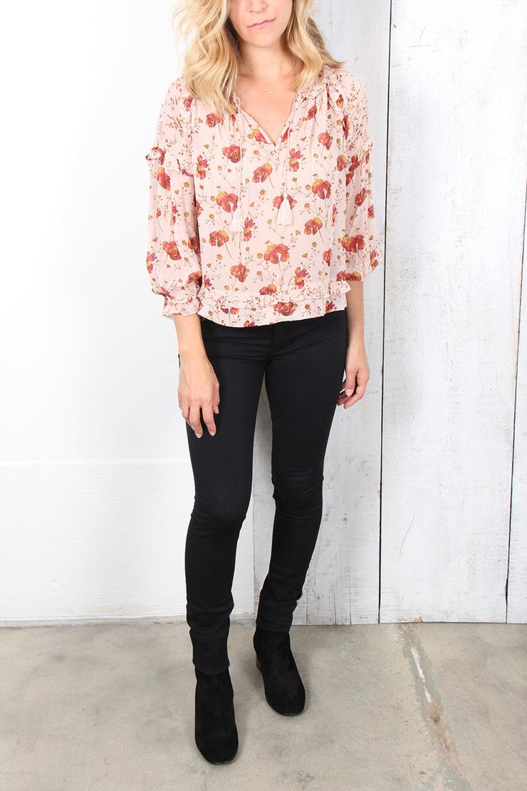 Ulla Johnson Raine Printed Rose Pink Blouse Top Floral Boho Silk S NWT
