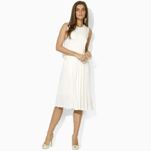 ecaaa48c3671 Lauren Ralph Lauren Pleated Cream Midi Dress S – White Chocolate Couture