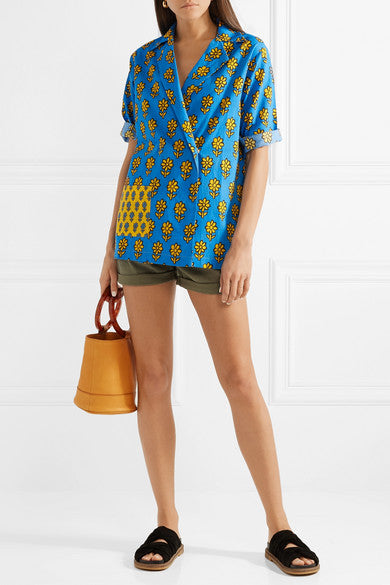 Rhode Resort Carl Printed Cotton Blue Tunic Top XS