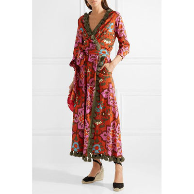 Rhode Resort Lena Tasseled Printed Dress XS