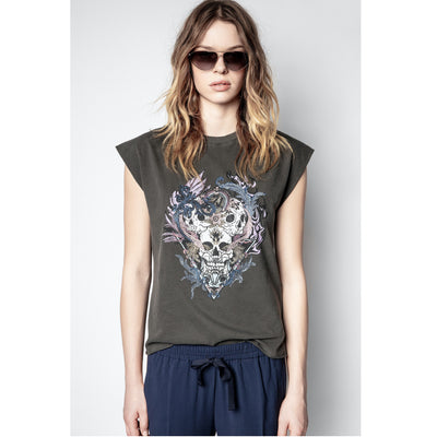 Zadig & Voltaire Weny Compo Skull Strass Tank Top L