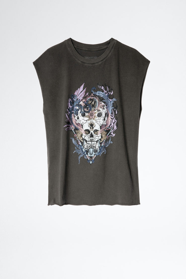 Zadig & Voltaire Weny Compo Skull Strass Tank Top