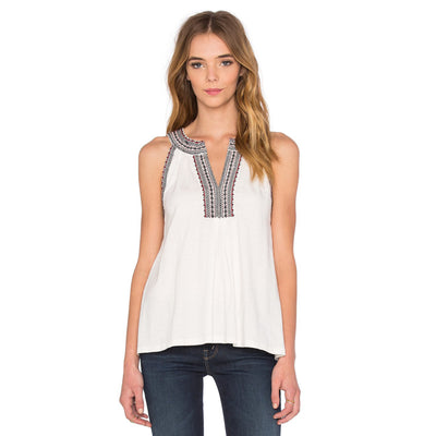 Soft Joie Embroidered Yvanna Tank Blouse Top Holiday White Boho XS