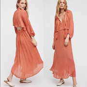 Free People Mad About This Maxi Dress Orange Holiday Boho Open Back S NWT
