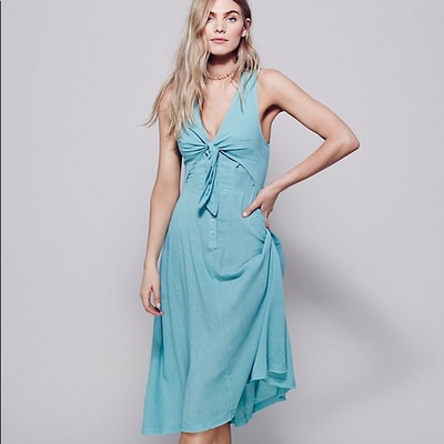 Free People Woo Wee Midi Dress Beach Wear Blue Boho Endless Summer S NEW
