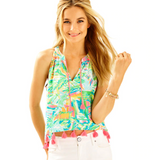 Lilly Pulitzer Roxi Printed Blouse Top Endless Summer Boho Holiday S NWT