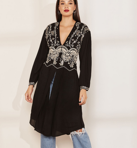 Free People Highline Skyline Black Plunge Maxi Top Embroidered Evening S