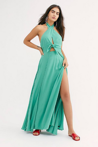 Free People My Long Time Love Long Maxi Dress Green Halter Beach L NWT