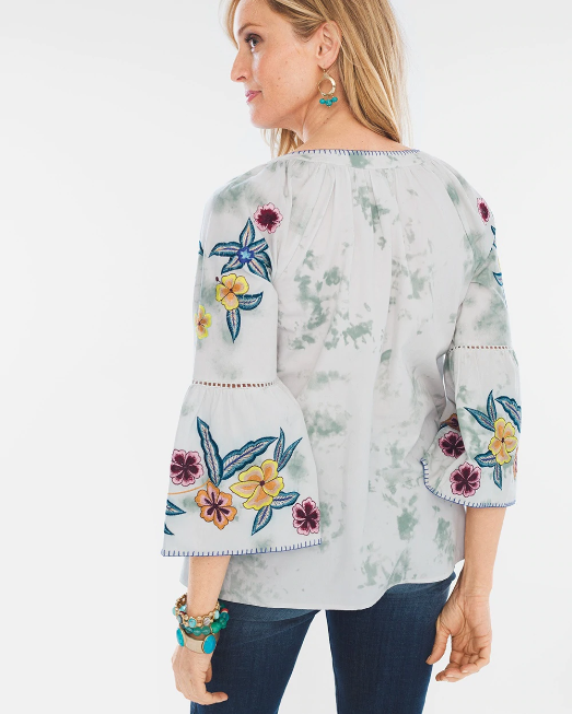 Chico's Embroidered Birds Blouse Top XL