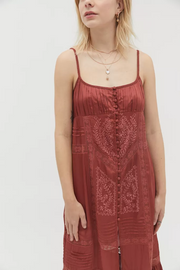Urban Outfitters Lisbon Embroidered Satin Midi Dress