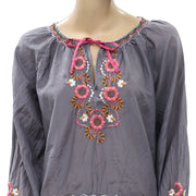 Odd Molly Anthropologie Floral Embroidered Blouse Top M