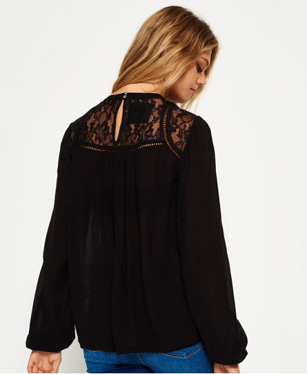 Superdry Daisy Floaty Crochet Cutout Long Sleeve Blouse Black Top XS