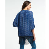 Superdry Ibiza Print Kimono Tribal Geo Blue Fringes Coverup Top S