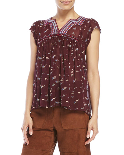 Ulla Johnson Anosha Floral Printed Silk Top S