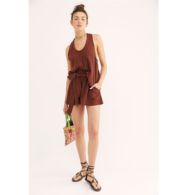 Free People Easy Livin Brown Shorts