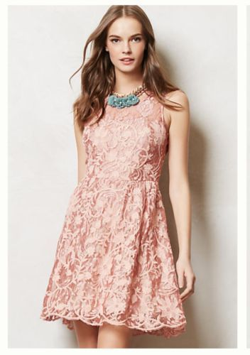 Yoana Baraschi Anthropologie Fioritura Rose Lace Dress S