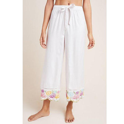 Anthropologie Pennbrooke Embroidered Sleep Trousers Pants High Waisted L