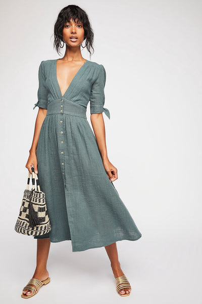 Free People Love Of My Life Midi Dress Endless Summer Buttondown XS
