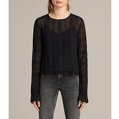 All Saints Dakota Eyelet Embroidered Blouse Top S