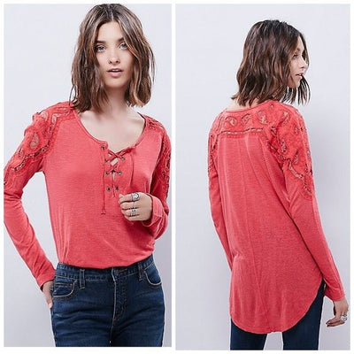 Free People Jennie Tee Embroidered Cutout Coral Tunic Top S