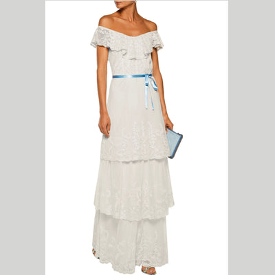 JOIE Gertie Off-The-Shoulder Embroidered Maxi Dress S