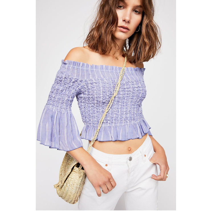 Free People Smock Around Striped Crop Top XS
