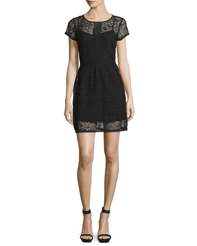 Joie Delarosa Embroidered Caviar Short Sleeve Black Dress Medium M 10