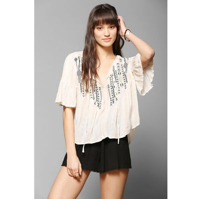 Ecote Urban Outfitters Willow Pintuck Gauze Blouse Top M