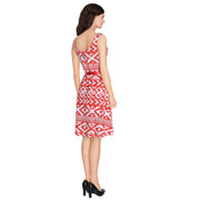 Desigual Printed  Embroidered Holiday Red White Mini Dress  S