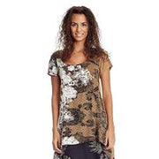 Desigual Rubber Printed Tunic Top Asymmetrical Holiday Boho XS