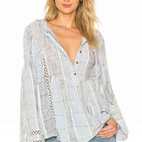 $128  Free People Baja Babe Striped Blend Pullover Blue Hoodie Top XS