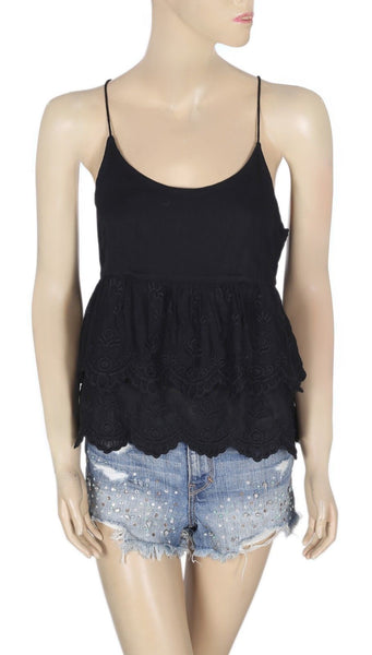 Free People Embroidered Sleeveless Racerback Black Blouse Top XS