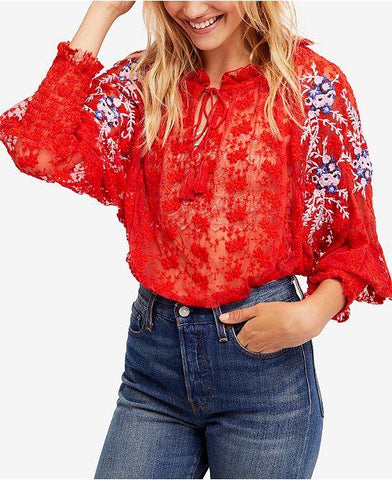$128 Free People Jubilee Floral Embroidered Smocked Red Blouse Small S