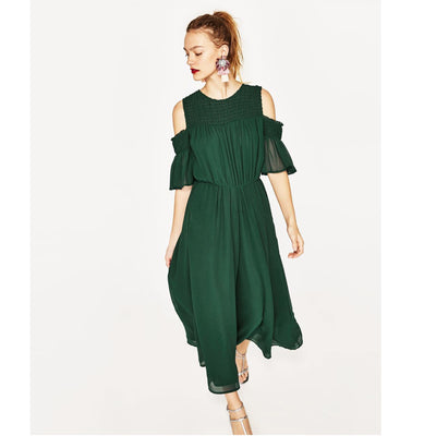 Zara Basic Women Pine Cold Shoulder Jumpsuit Dress Wide Leg Evening S